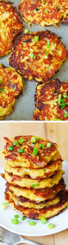 Bacon Spaghetti Squash & Parmesan Fritters. So unbelievably good! Kids love these - what a great way to incorporate veggies! Serve with a dollop of Greek yogurt.