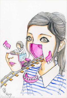 """Funny Girl #87"" painting by Shintaro Kago"