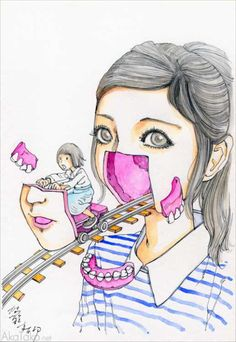 """Funny Girl #87"" painting by Shintaro Kago"