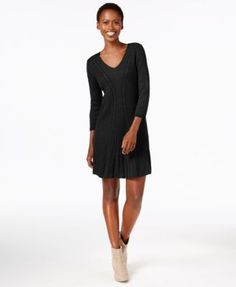 NY Collection Petite Cable-Knit A-Line Sweater Dress | macys.com