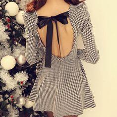 Sexy Sweet Back Cutout Bowknot Plaid Dress