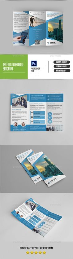Corporate Trifold Brochure-V297 - #Corporate #Brochures Download here:  https://graphicriver.net/item/corporate-trifold-brochurev297/19524505?ref=alena994