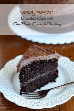Tried and true! --> The Very Best Chocolate Cake Recipe with One Bowl Frosting Dark Chocolate Cakes, Chocolate Desserts, Chocolate Frosting, Chocolate Heaven, Sweet Recipes, Cake Recipes, Dessert Recipes, Cupcakes, Cupcake Cakes