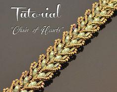 Chain of Hearts - beading pattern, beaded bracelet tutorial, beadweaving, QuadraLentil Bar bead pattern / TUTORIAL ONLY