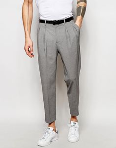 ASOS+Tapered+Smart+Trousers+With+Pleats