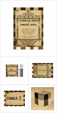 Rustic Country Black and Sepia Checks Wedding Wedding Frames, Wedding Ideas, Invitation Set, Reception, Place Card Holders, Rustic, Country, Pattern, Beautiful