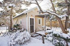 "An ""enchanted cabin"" in a backyard garden in Cabin in Boulder, CO."