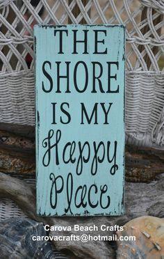 Beach Sign - Beach Decor - The Shore Is My Happy Place - Coastal Decor - Shore - Nautical - Beach House - Hand Painted Wood Sign via Etsy