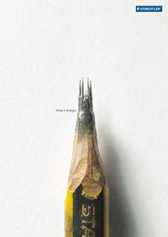 """""""All great ideas have originated from a pencil point, as this ad for Staedtler brand writing instruments shows."""" - Lüerzers Archive"""