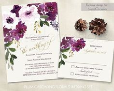 Boho Wedding Invitations kit with Floral bohemian watercolor flowers in shades of purple, deep plum wine and gold. This fun wedding invite is great for outdoor weddings, barn weddings, country weddings, rustic wedding, boho chic weddings and shabby chic events!