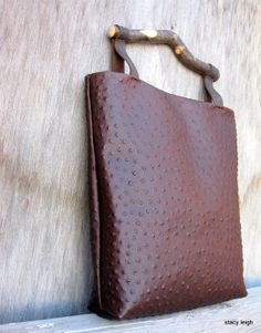 Ostrich Embossed Leather Bag with Hickory Handle