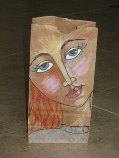 Colored pencil, black marker and humble brown lunch bag. 6th Grade Art, School Art Projects, Middle School Art, Arts Ed, Art Lesson Plans, Art Classroom, Art Club, Art Plastique, Elementary Art