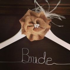 $35 Bride Hanger with Vintage style Burlap flower by bridalbling on Handmade Australia