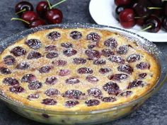 A classic rustic French recipe using summer's fresh cherries. It's so smooth… A classic rustic French recipe using summer's fresh cherries. It's so smooth and melts in your mouth. French Desserts, Summer Desserts, Just Desserts, Dessert Recipes, French Food, Cake Recipes, Cherry Deserts, Clafoutis Recipes, Cherry Clafoutis