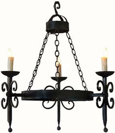 3 Light Hand Forged Wrought Iron Chandelier.
