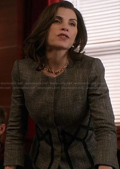 Alicia's jacket with diamond pattern around the waist on The Good Wife.  Outfit Details: http://wornontv.net/20582/ #TheGoodWife