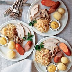 Be sure to make room in your stomach for this decadent take on a traditional German Christmas menu, often served in This decadent take on a traditional German Christmas menu is perfect for any holiday feast. Start the meal off with a hearty spoonful of Maultaschensuppe, an aromatic dumpling soup and specialty of Swabia in southern Germany. Then rejoice in a heaping platter of knackwurst, bauernwurst, and moist turkey, baked with bacon and duck fat and braised with white wine, sauerkraut…