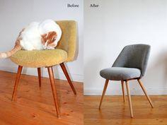 *_Original Rockabilly Stuhl aus den 50er Jahren._*  Der Stuhl wurde liebevoll mit einem Schwarzß Polsterstoff mit Boucle Optik angezogen.  D...