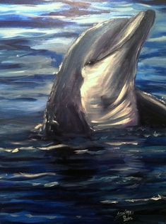 Pamela Squires Original Oil Painting Dolphin Ocean by dolphin921, $85.00