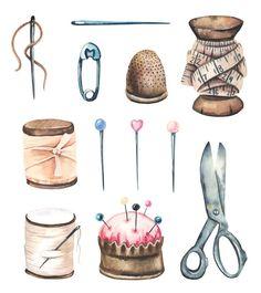 Watercolor sewing set. Premium Vector | Premium Vector #Freepik #vector #watercolor #vintage #fashion #illustration Sewing Art, Love Sewing, Sewing Crafts, Sewing Projects, Sewing Clipart, Sewing Notions, Vintage Buttons, Watercolor Illustration, Vintage Images