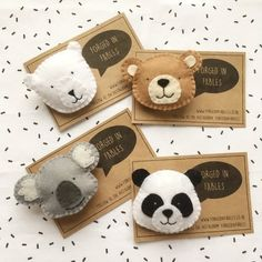 toy bear Felt Panda Koala P - toys Felt Crafts Diy, Felt Diy, Crafts For Kids, Arts And Crafts, Brooches Handmade, Handmade Felt, Felt Christmas, Christmas Crafts, Bear Felt