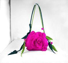Rachel's Shoulder Bag a red rose fairy pink fuschiafloral made out of Nuno Felt Silk, eco handmade from Fantasy Fiber Art Boho. Felt Purse, Felt Bags, Rosa Rose, Flower Bag, Unique Purses, Nuno Felting, Needle Felting, Felt Flowers, Handmade Bags