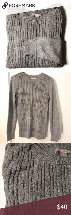 Banana Republic Sparkle Sweater Banana Republic Sparkle Metallic Sweater. Features button accents on the shoulders. Size S and is in excellent condition (no holes, stains, rips, or defects). Made of 48% cotton, 24% polyester, 19% nylon, 5% angora rabbit hair, and 4% metallic. Hand wash cold. Banana Republic Sweaters