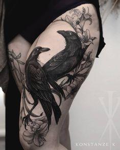 Konstanze K – artist – Piercings Tattoos Motive, Body Art Tattoos, Sleeve Tattoos, Hand Tattoos, Tatoos, Tattoo Tod, Dark Tattoo, Black Bird Tattoo, Black Tattoos
