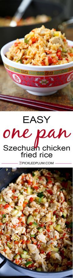 One Pan Szechuan Chicken Fried Rice - Easy Recipe - Make it mild or spicy! Easy Asian Recipes, New Recipes, Dinner Recipes, Cooking Recipes, Chicken Fried Rice Recipe Easy, Fried Chicken, Chicken Recipes, Couscous, One Pot Meals