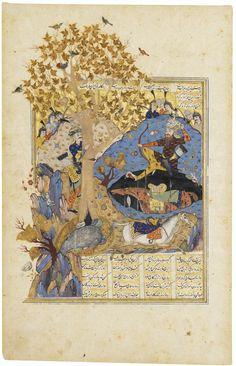 THE DEATH OF RAKHSH (SHAHNAMEH) ; BARZIN KILLING THE DRAGON AFTER IT HAD SWALLOWED BAHMAN (BAHMAN-NAMA OFTEN INTERPOLATED INTO THE TEXT OF FIRDAWSI'S SHAHNAMEH), SAFAVID PERSIA, QAZWIN OR SHIRAZ, 17TH CENTURY