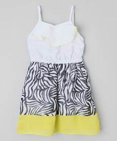 Love this White & Lime Zebra Twill Dress - Infant, Toddler & Girls by Dollhouse on #zulily! #zulilyfinds