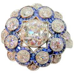 1920s Sapphire Diamond Platinum Cluster Ring 1