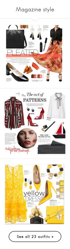 """""""Magazine style"""" by fanfanfanfannnn ❤ liked on Polyvore featuring Hourglass Cosmetics, Bobbi Brown Cosmetics, NYX, vintage, pleatedskirt, tassel, twinkledeals, WithChic, Yves Saint Laurent and Thom Browne"""