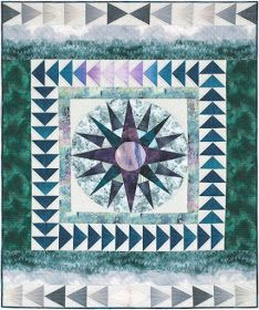 Enchanted Pines - Enchanted Navigation Free Quilt Pattern by Robert Kaufman Fabrics Quilting Tutorials, Quilting Projects, Quilting Designs, Quilting Tips, Sewing Projects, Free Paper Piecing Patterns, Star Quilt Patterns, Flying Geese Quilt, Bird Quilt