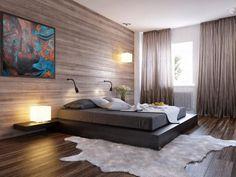 Акцентная стена в спальной, выполнена в деревянной текстуре.