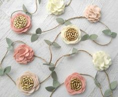 Wool Felt Rose and Flower Garland-Wall by SnuggleBugsBowtique
