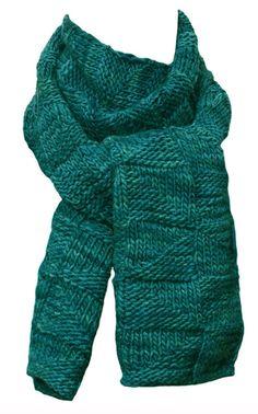 Hand Knit Scarf  Green Fraser River Wool by StudioatRedTopRanch