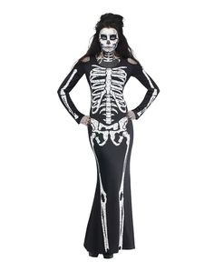 Skelebones Adult Womens Costume exclusively at Spirit Halloween - Shimmy into the Skelebones Adult Women's Costume this Halloween and amaze your friends in this dramatic gown. This black gown features a skeleton print and shoulder cut-outs. Get this fitted to the bones dress for $49.99