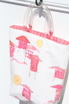 Linen Beach Bag - White Beach Bag - Pink Beach Bag - Cabana - White and Pink - Summer Purse - Small Tote