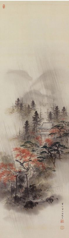 A temple in an autumn rain.