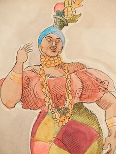 """""""Rio Carnival, 1942,"""" Watercolor Drawing, by Robert Lee Eskridge 