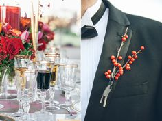 Bold + Gold Charleston Wedding Ideas, simple and different boutineer, berries, winter