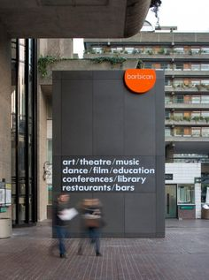 Barbican signage http://cartlidgelevene.co.uk/work/wayfinding-and-signage/barbican-arts-centre
