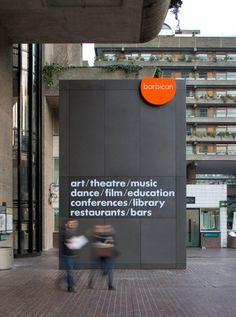 Barbican signage http://cartlidgelevene.co.uk/work/wayfinding-and-signage/barbican-arts-centre