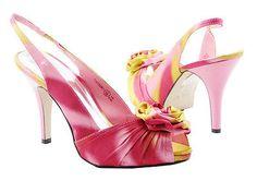 Ladies Pink Satin Bridal Bridesmaids Shoes Flower Wedding Sandals Sz Size 3 4 5