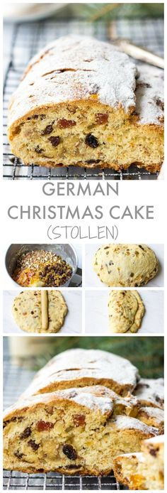 Stollen : Looking for fancy Christmas desserts? Try German Christmas Cake - Stollen. It is packed with dried fruits, almonds and marzipan and sure to become a beautiful addition on your Christmas dinner table. German Christmas Food, Christmas Bread, Christmas Baking, German Christmas Stollen Recipe, German Stollen, German Christmas Traditions, Italian Christmas, Stollen Cake, Deutsche Desserts
