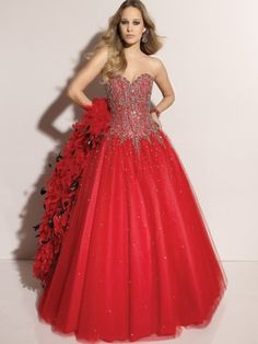 (NO.0242098 )2012 Style Ball Gown Sweetheart  Beading  Sleeveless Floor-length Tulle  Red Prom Dress / Evening Dress