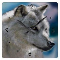 Lone  Wolf In the Wild Square Wall Clock - decor diy cyo customize home