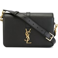 Saint Laurent medium 'Université Monogram' shoulder bag (€1.815) ❤ liked on Polyvore featuring bags, handbags, shoulder bags, black, monogrammed handbags, 100 leather handbags, yves saint laurent handbags, yves saint laurent shoulder bag and leather shoulder handbags