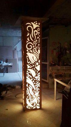 Lamp decor - Affordable Ceiling Design Ideas With Decorative Lamp 15 – Lamp decor Laser Cut Lamps, Pillar Design, Interior Columns, Plafond Design, Room Partition Designs, Column Design, Metal Garden Art, False Ceiling Design, Wood Lamps
